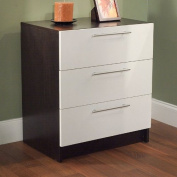 Target Marketing Systems Contemporary 3 Drawer Accent Chest, Espresso/White