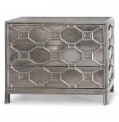 Chatham Hollywood Regency Silver Lattice Metal Clad Three Drawer Dresser