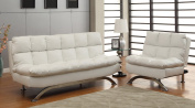 Furniture of America Ethel Leatherette Convertible Sofa and Chair Set, White