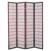 4 Panel Shoji Screen Room Divider, Cherry Finish (Cherry)