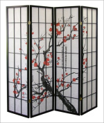 Roundhill Black Japanese 4-Panel Screen Room Divider, Plum Blossom