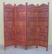 Hand Carved Wooden Room Divider Screen with Antique Finish 180cm x 200cm