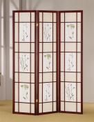 ADF 3-Panel Shoji Screen with Cherry Finish Frame