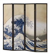 4 Panels Room Divider with Great Wave Design