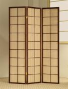 ADF 3-Panel Shoji Screen with Brown Fabric Inlay