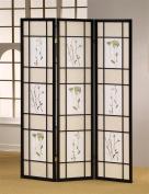 ADF 5441 3-Panel Shoji Screen with Black Finish Frame
