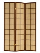 Fabric in Lay 3 Panels Room Divider Brown Cherry