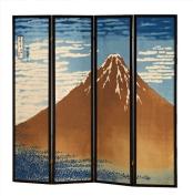 4 Panels Room Divider with Mt. Fuji Hokusai Design