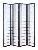 ADF 4-Panel Shoji Screen with Black Finish Frame