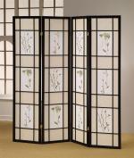 ADF 5441-4 4-Panel Shoji Screen with Black Finish Frame