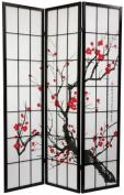 Sakura Blossom Shoji Folding Floor Screen Room Divider - Black 4 Panel