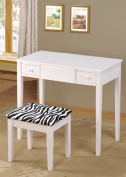 Contemporary Vanity Set with Flip Mirror Top and Zebra Print Stool White Finish