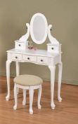 New Queen Ann Vanity Set with Adjustable Mirror and Round Stool White Finish