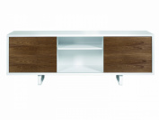 Temahome Slide Sideboard with Pure White High Frame and Walnut Doors with White Feet