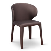 Enzo Modern Dining Chair with Curved Back - Brown