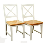 TMS Virginia Cross Back Chairs (Set of 2), White/natural
