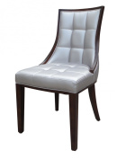 International Design USA Barrel Dining Chair, Silver Leather, Set of 2