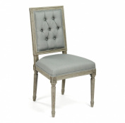 French Country Louis XVI Sage Green Tufted Linen Dining Chair