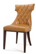 International Design USA Regis' Camel Leather Dining Chairs, Set of 2