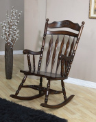 Coaster Rocking Chair with Carved Detail in Walnut Finish