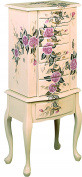 Coaster Jewellery Armoire, Ivory Finish Wood with Hand Painted Roses Floral