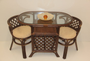 Borneo Compact Dining SET Table+2 Chairs Dark Brown Handmade Natural Wicker Rattan Furniture