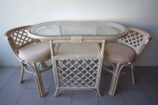 Borneo Compact Dining SET Table+2 Chairs White Wash Handmade Natural Wicker Rattan Furniture
