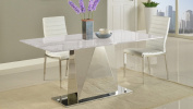 Bianco Modern Dining Table with Carrara Marble and Chrome Base