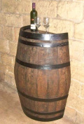 Oak wood Split Wine Barrel Stand, Gloss Lacquer Finished