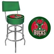 NBA Milwaukee Bucks Padded Swivel Bar Stool with Back