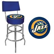 NBA Utah Jazz Padded Swivel Bar Stool with Back