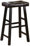 Set of 2, Country Series Bar Stool - 70cm H - in Espresso Finish with Faux Leather