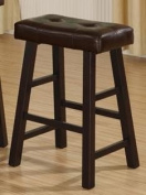 Poundex Country Series Bar Stool, 70cm in Dark Cherry Finish with Faux Leather, Set Of 2