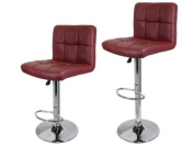 2 PU Leather Modern Design Adjustable Swivel Barstools Hydraulic Bar Stool