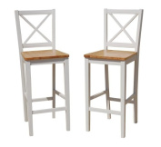 TMS 80cm Virginia Cross Back Stools (Set of 2), White/natural