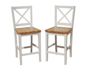 TMS 60cm Virginia Cross Back Stools (Set of 2), White/natural