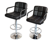 2 Black PU Leather Modern Design Adjustable Swivel Barstools Hydraulic Bar Stool