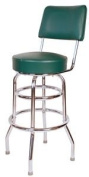 Double Ring Commercial Bar Stool with Back - Green