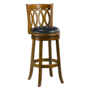 Mintra Dark Oak Finish Spiral Back Leather 70cm Swivel Barstool