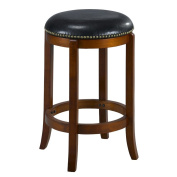 Mintra Cherry Finish Bicast Leather 60cm Swivel Counter Stool