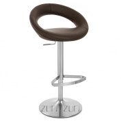Crescent Adjustable Height Swivel Armless Bar Stool with Chrome Base