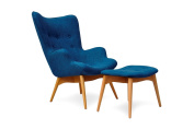 International Design USA Huggy Mid Century Chair and Ottoman, Blue