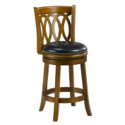 Mintra Dark Oak Finish Spiral Back 60cm Swivel Counter Stool