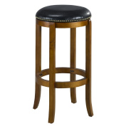Mintra Dark Oak Finish Bicast Leather 70cm Swivel Barstool