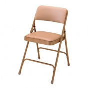National Public Seating 1200 Series Steel Frame Upholstered Premium Vinyl Seat and Back Folding Chair with Double Brace, 220kg Capacity, French Beige/Beige