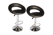 Black Modern Adjustable Synthetic Leather Swivel Bar Stools Chairs B02-Sets of 2