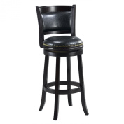 Mintra Black Finish Padded Back 70cm Barstool