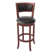 ADF 60cm Wood Swivel Bar Stool with PU Seat and Back, Cherry
