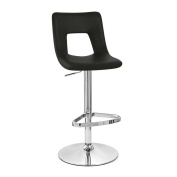 Jazz Adjustable Height Swivel Armless Bar Stool with Brushed Chrome Base