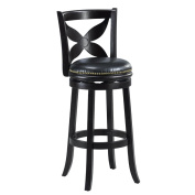 Mintra Black Finish Floral Back 70cm Swivel Barstool